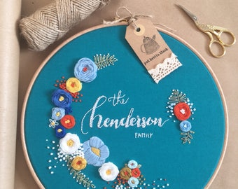 Large personalised embroidery hoop (25cm) with floral detail
