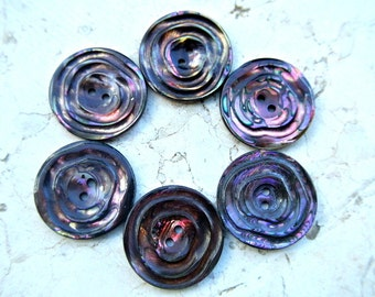 Shell button, vintage, unique assorted colors, 34mm, 5mm thick, great for button jewel