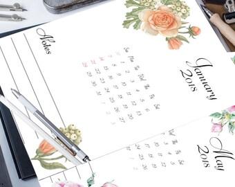 2018 calendar, digital download, instant download, printable art, 2018 monthly calendar, floral print art, watercolor print art, 2018 print