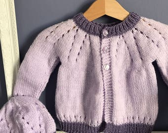 Hand Knitted Baby Girl Cardigan and Hat Set