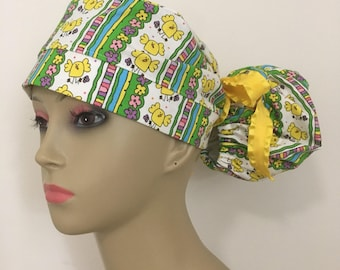 Women's Ponytail Surgical Scrub Hat - Easter Spring Chicks