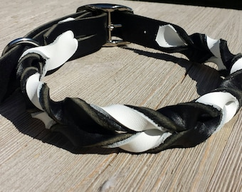 """1"""" Wide Braided Leather Collar, Black and White"""