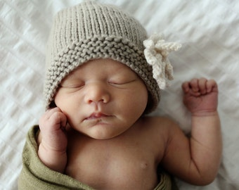Knitting Pattern, Hat Pattern for Baby Girl, Easy Knit Baby Hat Pattern, Beanie Hat Pattern, Hat Pattern for Girl, PDF Pattern, - AMELIA