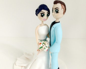 Anime Wedding Cake Topper Personalized figurines bride and groom Cute couple Handmade Cuddle wedding cake topper funny cake topper
