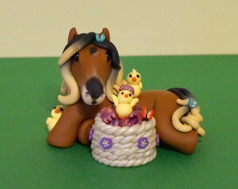 """Made to order """"Mary"""" Easter horse with baby chicks"""
