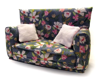 """Barbie Doll Furniture-Sofa with Pillows -1:6 scale-Blue with White and Pink flower print fabric-also works w/Blythe and 11"""" fashion doll"""