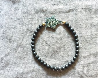 Ebony Stretch Bracelet with Pave Diamond Star