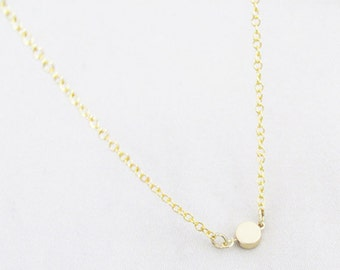 Small Gold Dot Necklace - Dot Necklace - Small Necklace - Bridesmaid Necklace - Dainty Necklace - Thin Necklace - Bridesmaid Gift