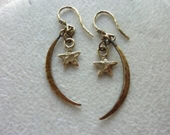 Hammered Slim Crescents and Star Charm Earrings, Artisan Earrings, Dangle Earrings