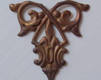 Vintage Oxidized Brass Art Deco Stamping