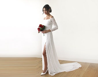 Ivory Wedding Dress with a Slit & Train Off-The-Shoulder Floral Lace Long Sleeve Maxi, Wedding Dresses with Long Train 1179