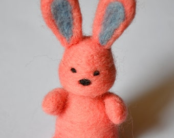 Pink Bunny - Needle Felted Woolen Animal