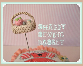 Shabby Sewing Basket Pin Topper