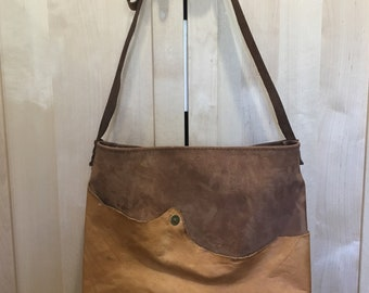 Handcrafted, Hand stitched Nubuck & Serengeti Leather Tote