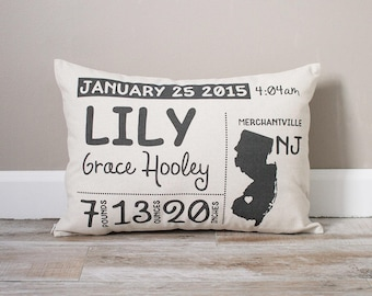 Birth Announcement Pillow | Personalized Baby Pillow | Baby Stats Pillow | New Baby Gift | Gift for New Mom | Baby Pillow | New Mom Gift