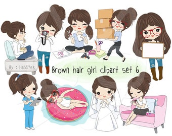 Brown hair girl clipart set 6 ,girl stickers clipart instant download PNG file - 300 dpi