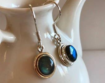 Labradorite Drop Earrings-Labradorite Gemstone Earrings