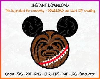 Chewbacca SVG - Chewbacca Ears Mickey - Chewbacca Topper - Chewbacca Sticker - Chewbacca Decor - Chewbacca Printing - Chewbacca Iron on