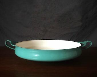 Dansk Aqua Blue Paella Pan 10 in Vintage Jens Quistgaard Design Danish Modern Mid Century