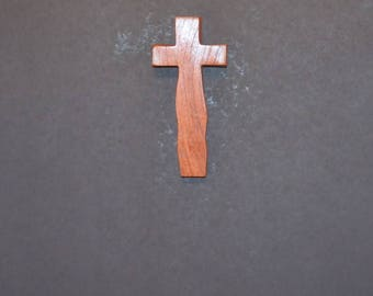 "Wooden Wall Cross; 3.5""x7""x1""; Rustic Cabin Decor;  Wall Cross Decor; Crooked Cross; Mesquite; Handmade;  Free Ground Shipping cc15-1121617"