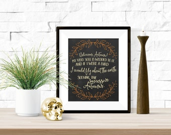 Delicious Autumn George Eliot Quote Chalkboard Printable Artwork  - 8x10 inches
