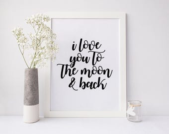 I love you to the moon and back printable art, love printable art, room wall art, cute printable, digital download, instant download