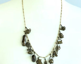 Brass Pididdly Links Charms Necklace