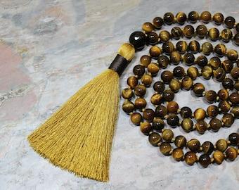 Tassel Necklace, Mala Tassel Necklace, Beaded Tassel Necklace, Tiger Eye Necklace, Mala Beads Necklace, Tiger Eye Necklace Men, Japa Mala