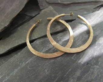 """Gold hoops earrings, gold plated bronze, """"Malicia"""" made in France, handcrafted."""