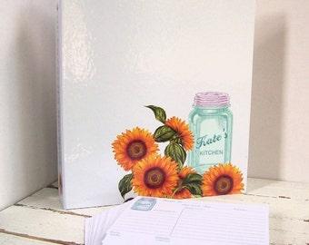 Custom Recipe Binder - Mason Jar with Flowers - Farmhouse Kitchen - 3 Ring Binder Recipe Card Storage - Wedding, Bridal Shower Gift