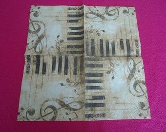 4 paper NAPKINS - music notes and piano keys