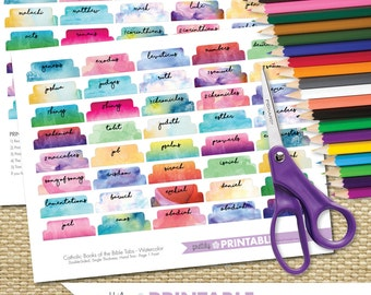 Printable Books of the Bible Tabs - Watercolor (for Hand Trimming) Set of 73 - Catholic Bible