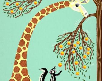 Lending A Neck - Giraffe and Skunk - Children's Wall Art / Decor - Animal Art - Limited Edition Print - iOTA iLLUSTRATION