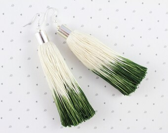 Tassel Earrings • Ombre Earrings • Ombre Jewellery • Green Earrings• Statement Earrings • UK Earrings • Long Earrings • Fringe Earrings