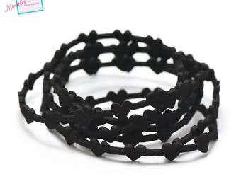 """1 m cord strap perforated suede """"bundle"""" 6 x 1, 8 mm, black"""