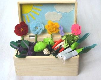 Sunny Felt Garden, Vegetable Garden Play Set, Garden Toy, Pretend Food, Felt Veggies, Acitivity Box, Gift For Kids, For Autism, Ecofriendly