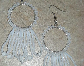White Hoop Dangle Earrings