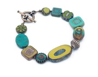 Chartreuse, Turquoise, Yellow Czech Glass Bracelet