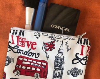 "London landmarks !  Make Up bag- handmade - zipper  lined- 6""X 7"""
