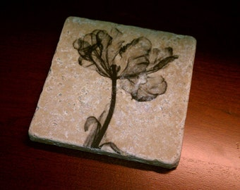 "Tile Coasters, Drink Coasters, Natural Stone Coasters, Sheer Flowers, 4"" x 4"" Tumbled Stone"