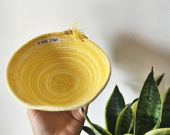 small turmeric dyed rope bowl // hand dyed with organic turmeric // 100% cotton