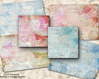 Softly Paris PRINTABLE DIGITAL SHEET Art Cards Tags Jewelry Display or Journaling Cards Lots of Uses