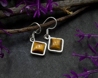 Natural Tiger's Eye Square Gemstone Drop Dangle Earring 925 Sterling Silver E319