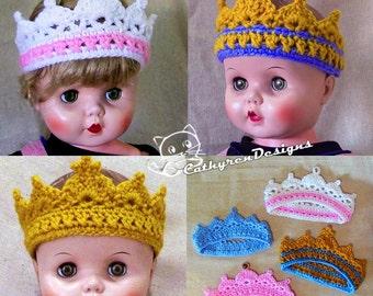 Princess Tiara/ Prince Crown, Baby-Adult, INSTANT DOWNLOAD Crochet Pattern