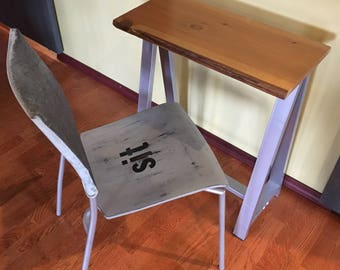 Mixed Media Hand Painted Typography Chair Sit
