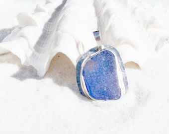 Seaglass Pendant, Blue Sea Glass Pendant, Caribbean Sea Glass Jewelry, Sea Glass Jewelry, Sea Glass Necklace, Mothers Day