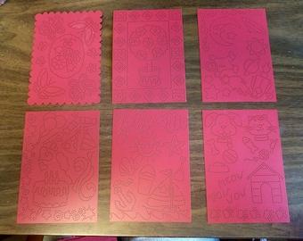 Plaid Pattern Metal Punch Set, 12 Reusable Enamel Templates, Bee, Dove, Floral, Butterfly, Bouquet, Topiary, Pet, Garden, Phrases, Beach