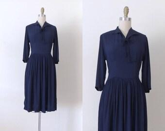 Vintage 1940s navy blue rayon dress | 40s rayon dress | long sleeve dress | winter dress | dark blue rayon crepe | utility day dress | M