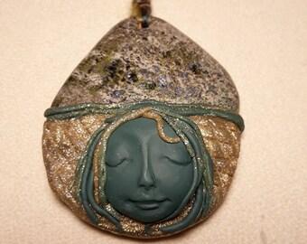 Copper Ore Moon Pendant