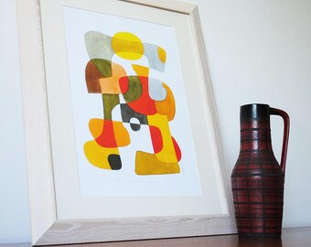 Moderne Art Print Poster «Happy» milieu du siècle moderne du foyer jaune rouge marron gris noir 11 x 16